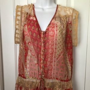 Just Pearls boho sheer summer top Medium